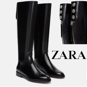 ZARA Faux Patent Leather Knee High Boots